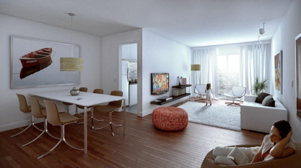 pavimento-parquet-zona-pranzo-sei-posti-divano-tappeto-bianchi-puff-arancio-arredare-salotto-e-sala-da-pranzo-insieme